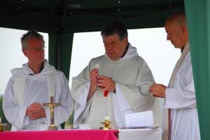 The Abbot of Downside concelebrates with Fr Charles and Fr Martin